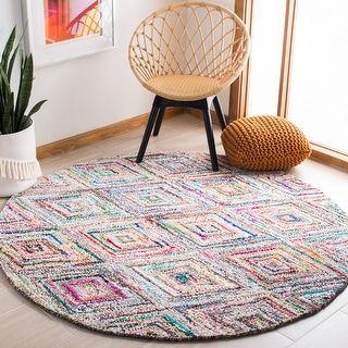 Safavieh Handmade Nantucket Elsgard Contemporary Cotton Rug (4' x 4' Round - Multi), Multicolor
