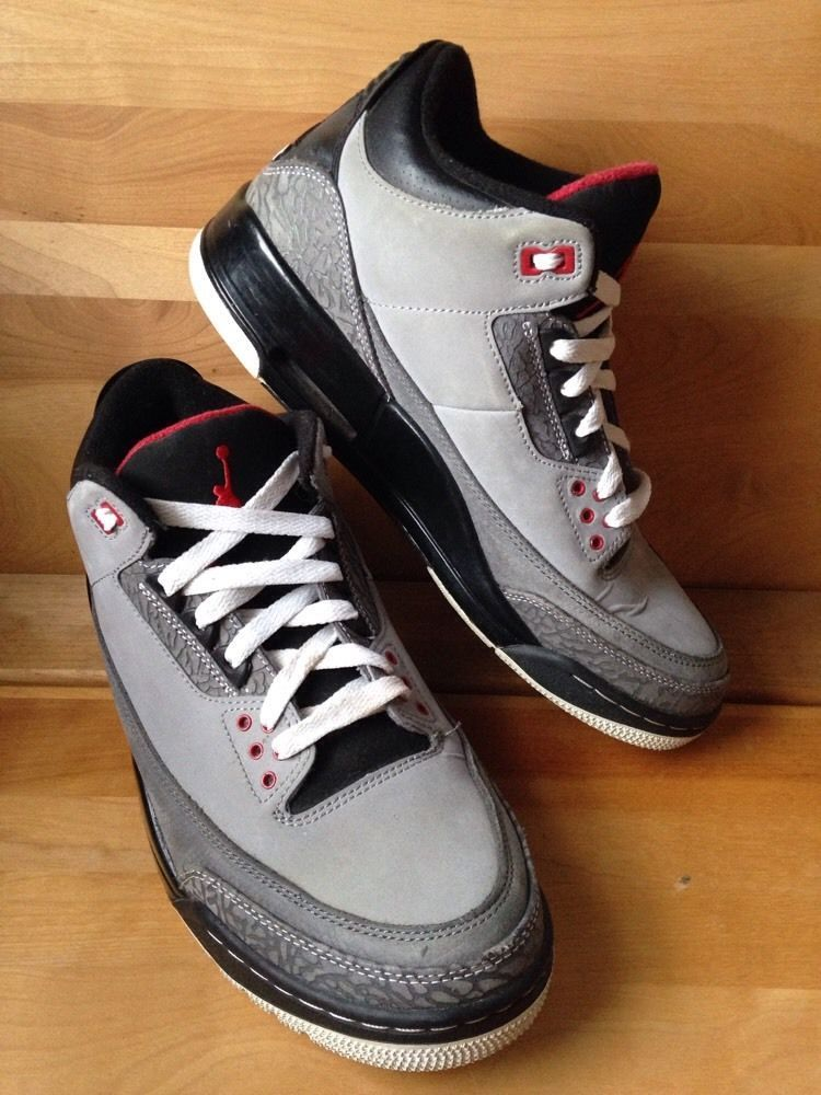Nike Air Jordan III 3 Sz 9 5 Stealth Grey Retro All Star 2011 Cement Black  Gray  f014dcaa7ff4
