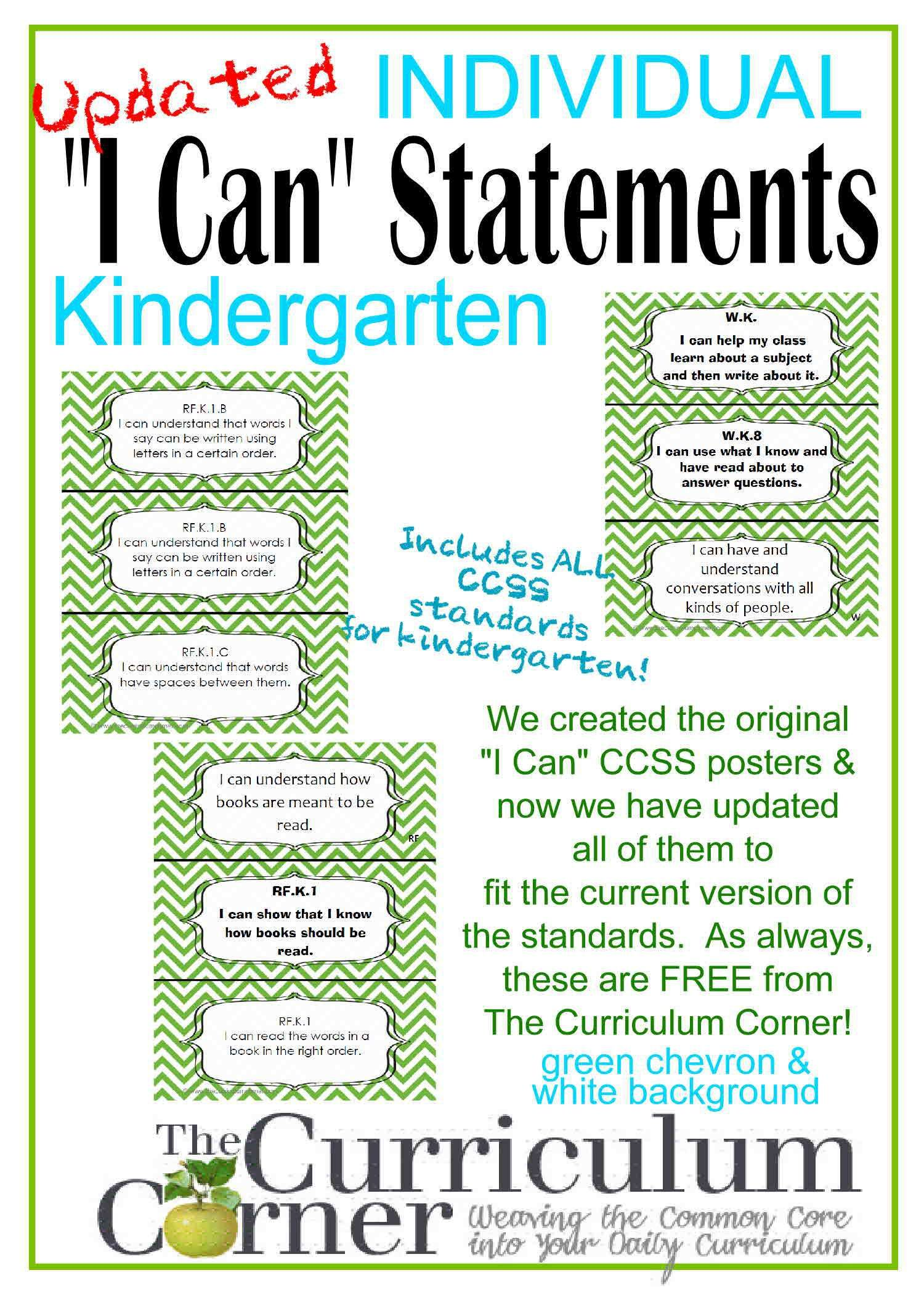 Individual I Can Statements For Ccss Kindergarten