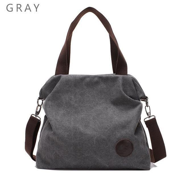 e96492f943aaf Large Pocket Casual Women's Handbag Shoulder Cross body Handbags Canvas  Leather Large Capacity Bags For Women