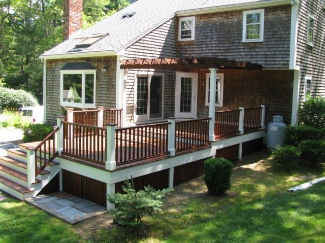 Very Attractive Deck With Pergola Custom Deck Designs Boston Staining Deck Deck Colors Patio Deck
