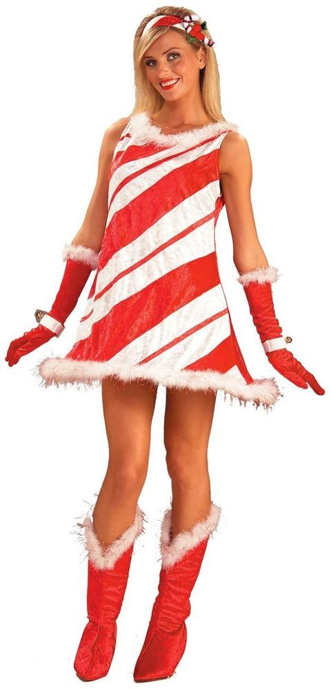 Sexy Miss Candy Cane Red & White Adult Costume For Women