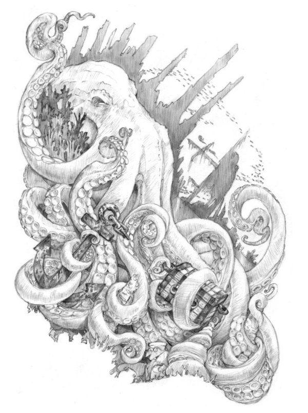 Kraken by Jennifer L. Meyer- how can you not have a kraken tattoo?
