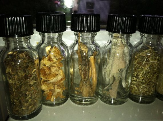 Witches Cupboard - 14 Glass Bottles of MAGICKAL Herbs, Resins, Flowers, Roots, Powders. Witchcraft, Paganism, Hoodoo, Wicca, Altar, Magick