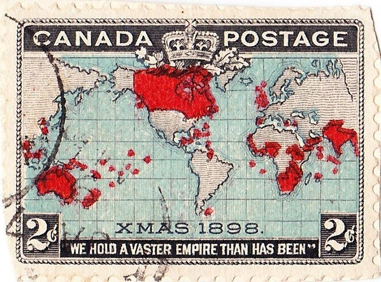 Map of the British Empire on the world's first Christmas stamp
