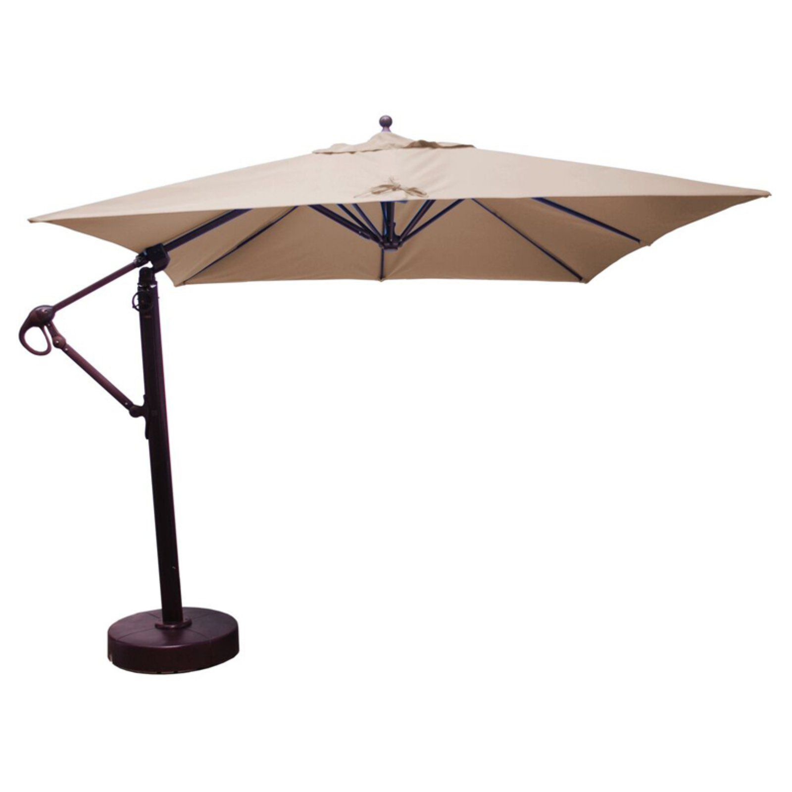 Galtech 10 Ft Square Cantilever Sunbrella Aluminum Patio Umbrella With Wheeled Base Forest Green Aluminum Patio Patio Umbrella Cantilever Umbrella