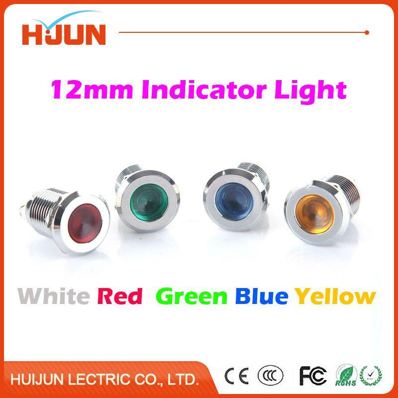 1pcs 12mm Waterproof Metal Flat Round Indicator Led Lamp Signal Pilot Light Colourful Red Yellow Blue Green White Light Indicator Lights Blue Green