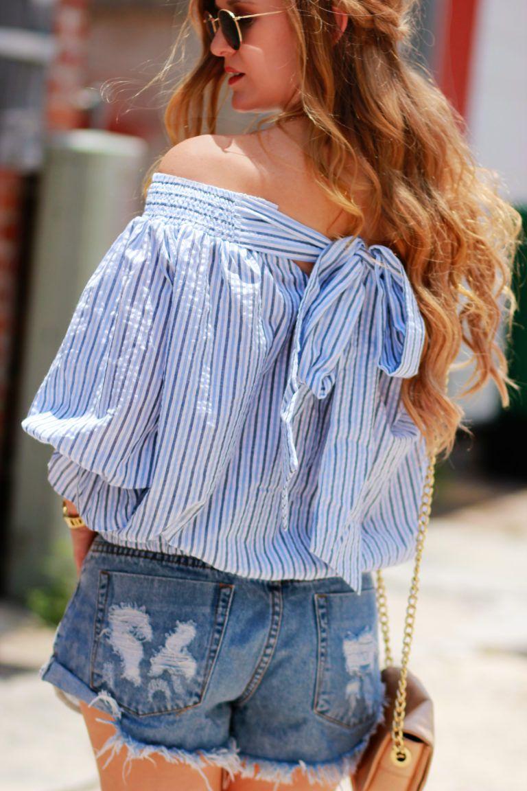 b02f8e9706dd9 Orlando Florida Fashion blog styles Chicwish off the shoulder striped top  with denim cut off shorts