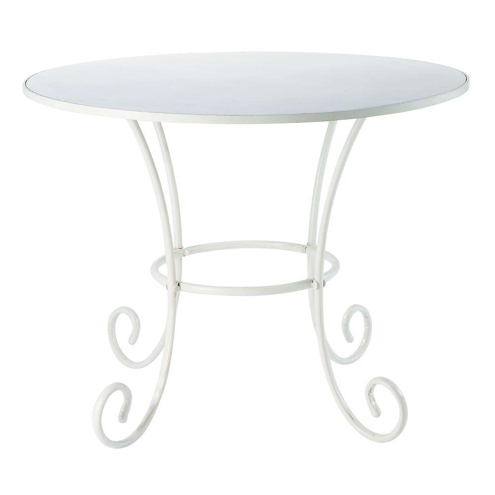 Table de jardin ronde en métal et fer forgé ivoire D100   Wrought iron