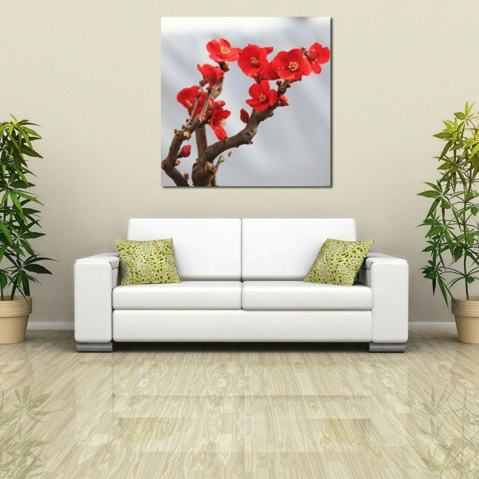dekoideen wohnzimmer wandbild wanddeko pflanzen Dekoration