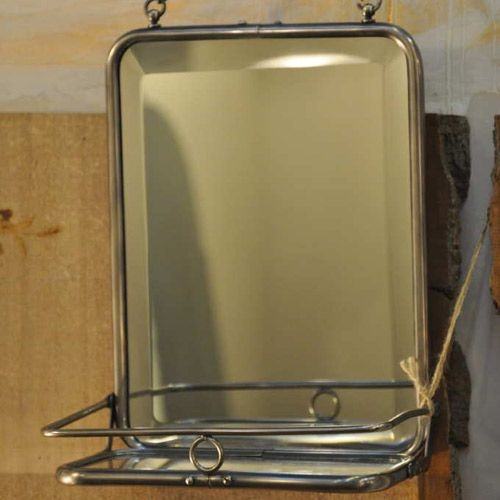 Miroir nickel avec tablette en verre Chehoma   Salle de bain ...
