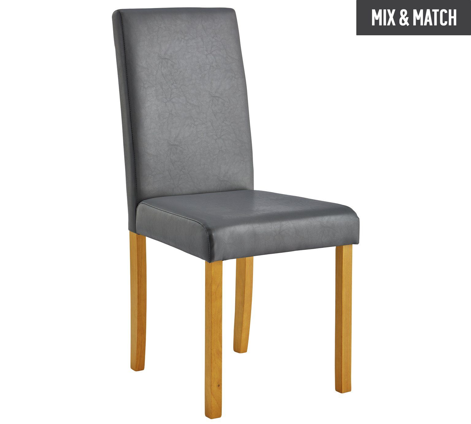 Buy Home Pair Of Leather Effect Midback Dining Chairs Grey At
