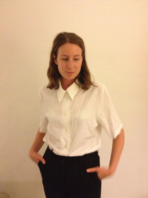 A white blouse with shoulder pads and crochet by AGirlOfNorth, €15.00