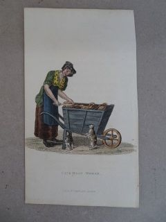 Cat's Meat Woman W Pyne. 1824. A handcolored copperplate engraving.  84 x 142 mm