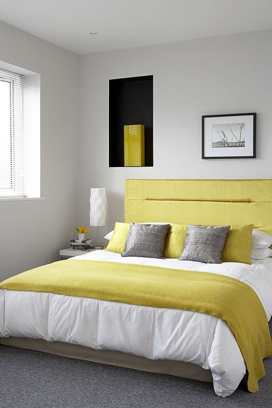 Albany Light Grey teemed with yellow accessories is a great ...