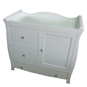 New Baby White Sleigh Dresser Baby Changing Unit With Cupboard And Drawers