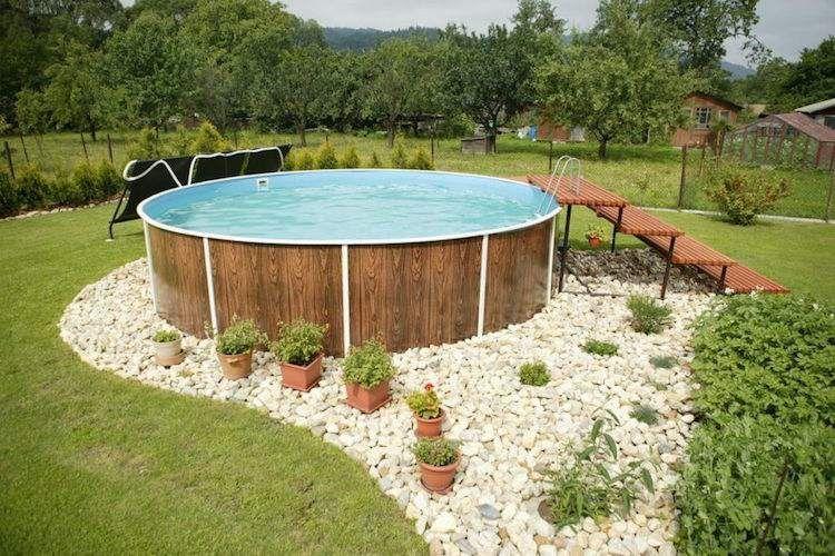 Piscine Hors Sol Bois Forme Ronde Deco Galets Plantes Pots #wood #pool