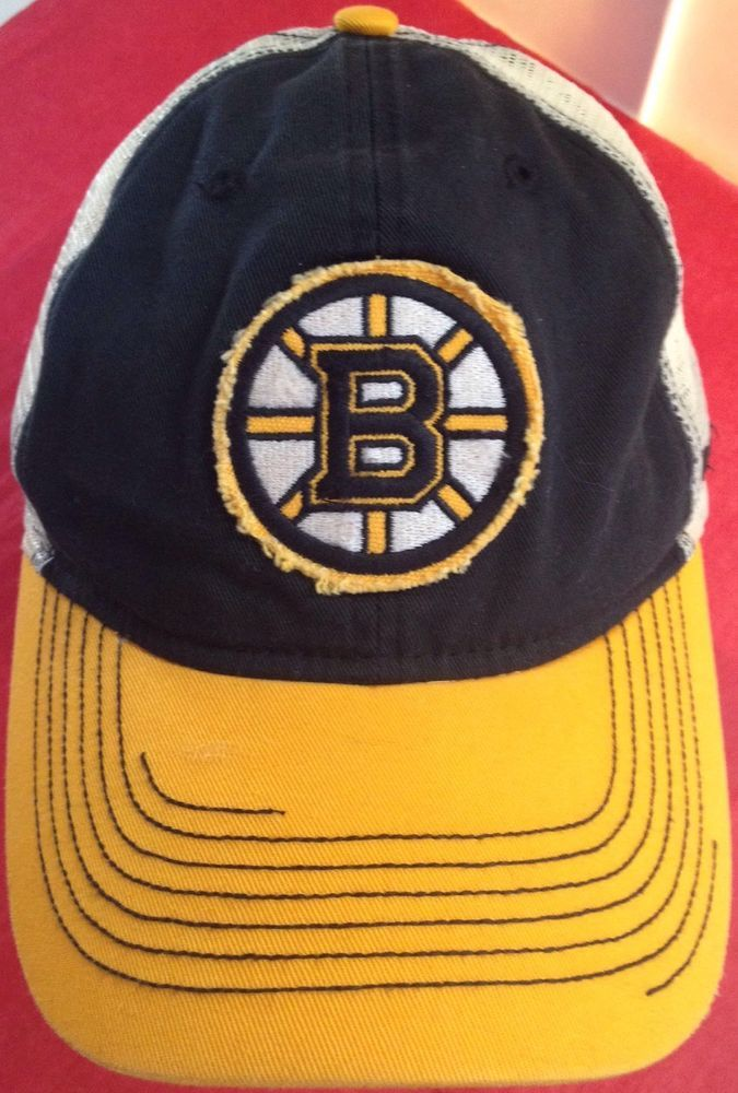 c8b2e84c9c9 Boston Bruins Cap Hat Adjustable Meshback Black Slouch Distressed Reebok  OneSize  Reebok  BostonBruins