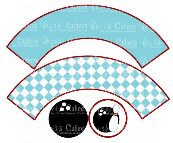 Retro Bowling  Digital Cupcake  Wrapper and by CupcakeCutieesParty, $3.50