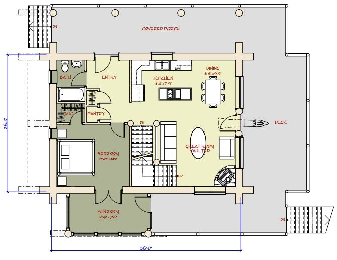 Log Home and Log Cabin Floor Plans Between 1500-3000 Square Feet ...