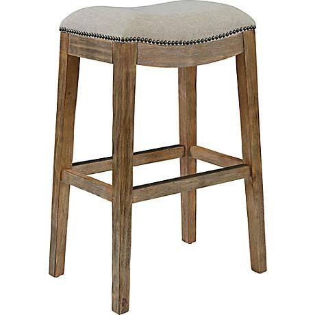 Gaby Natural Wood 30 1 2 Cream Fabric Backless Barstool 8c960 Lamps Plus Counter Stools Backless Bar Stools Backless Bar Stools Wood backless bar stool