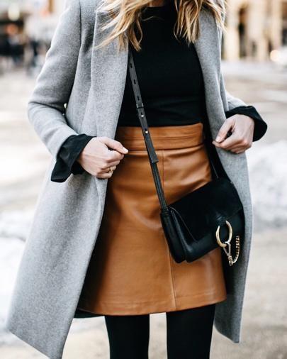 French Connection Goldenburg brown tan leather skirt + grey coat + black shirt + black tights + Chloe Small Faye black bag   @liketoknow.it http://liketk.it/2qo5p #liketkit