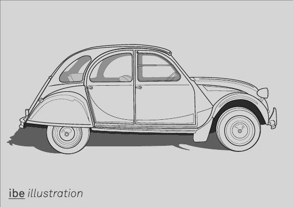 Citroen 2cv Graphic Illustration 2cv Citroen 2cv Dessin Voiture