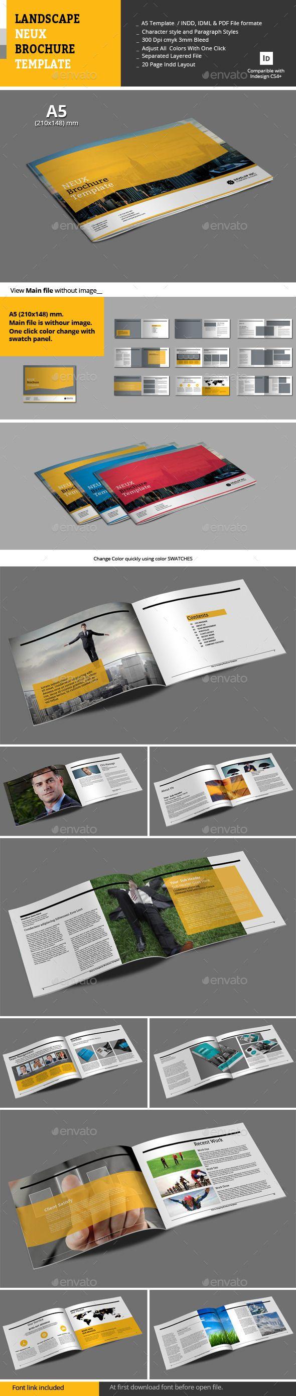 Landscape Neux Brochure Template | Brochure template, Brochures and ...