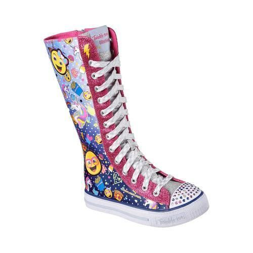 Girls Skechers Twinkle Toes Shuffles Chattin Up Tall High Top