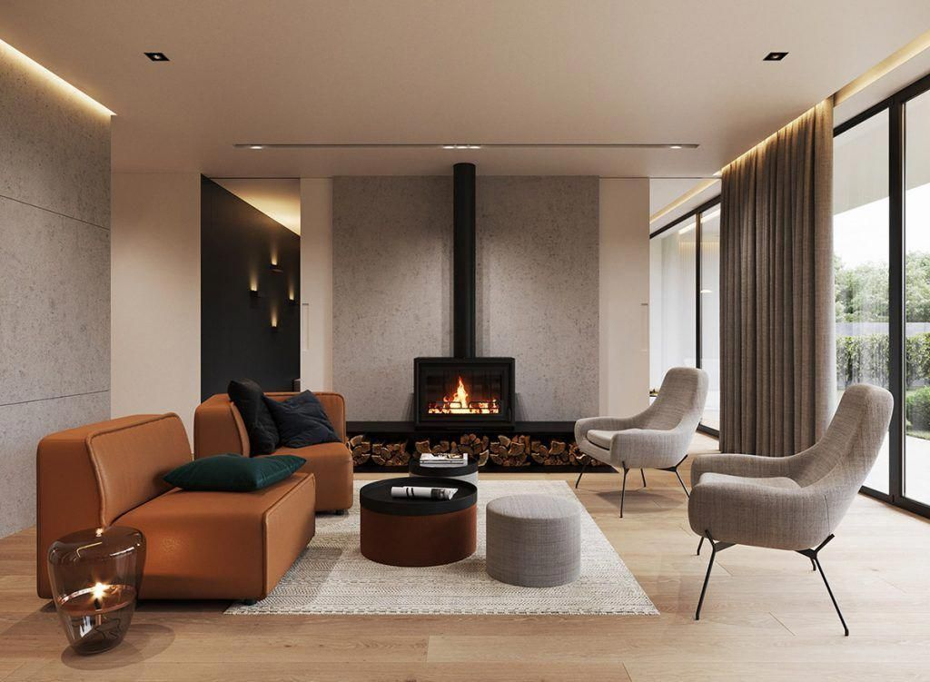 An Open Concept Minimalist Home That Mixes Concrete Stone Wood And Metal To Create A Mascul Minimalist House Design Minimalist Home Open Concept Living Room