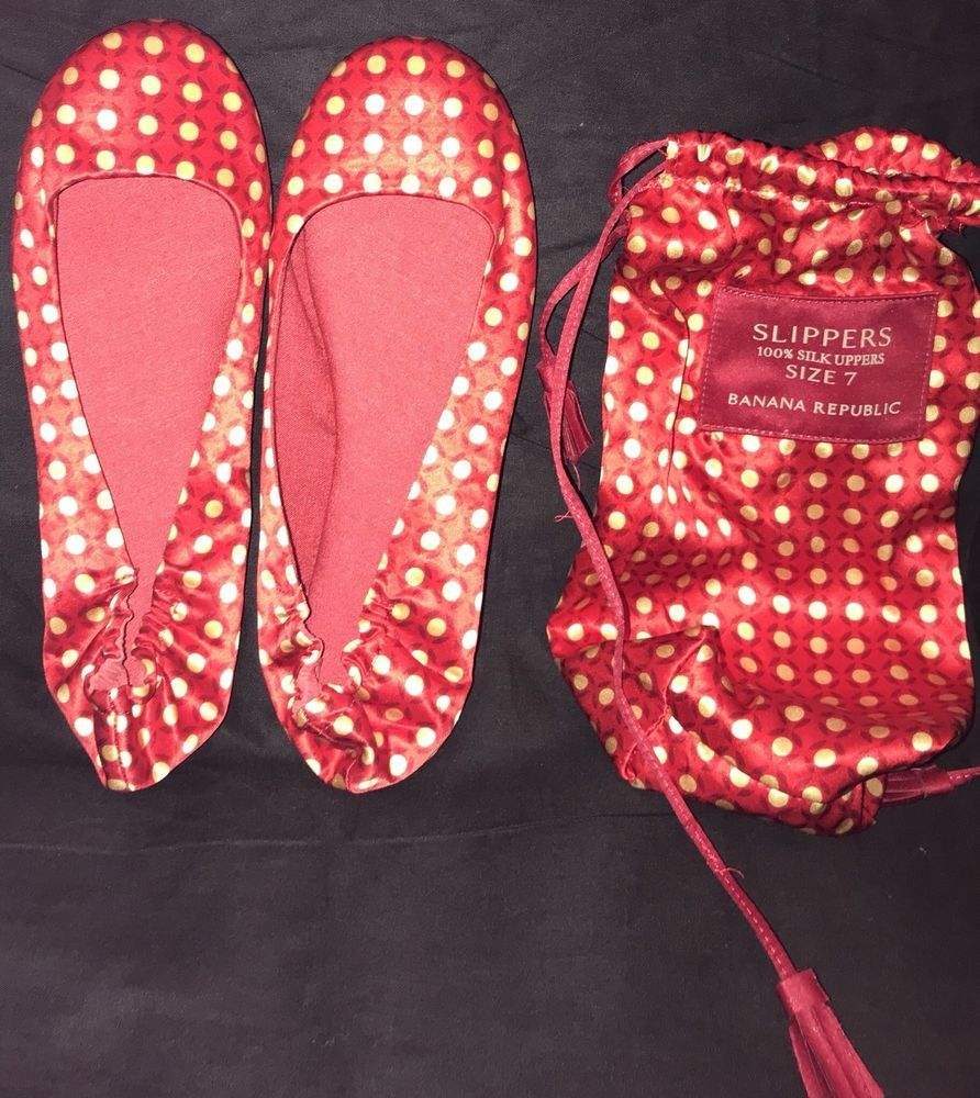 1a30001ee89 Banana Republic Size 7 Silk Upper Women Slippers Travel Set Pouch New Red  Gold  BananaRepublic  SlipperShoes
