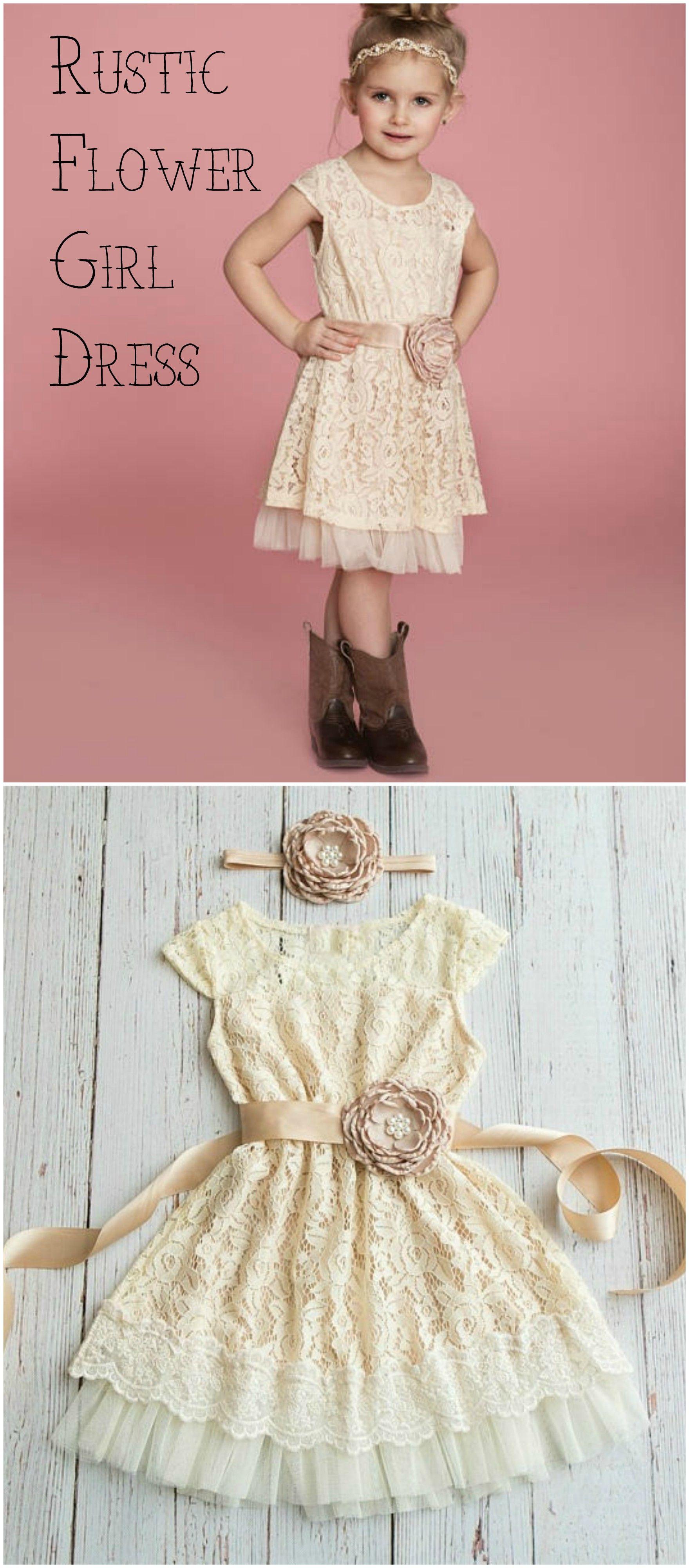 Rustic Flower Girl Dress, Country flower girl dress, Ivory Champagne ...