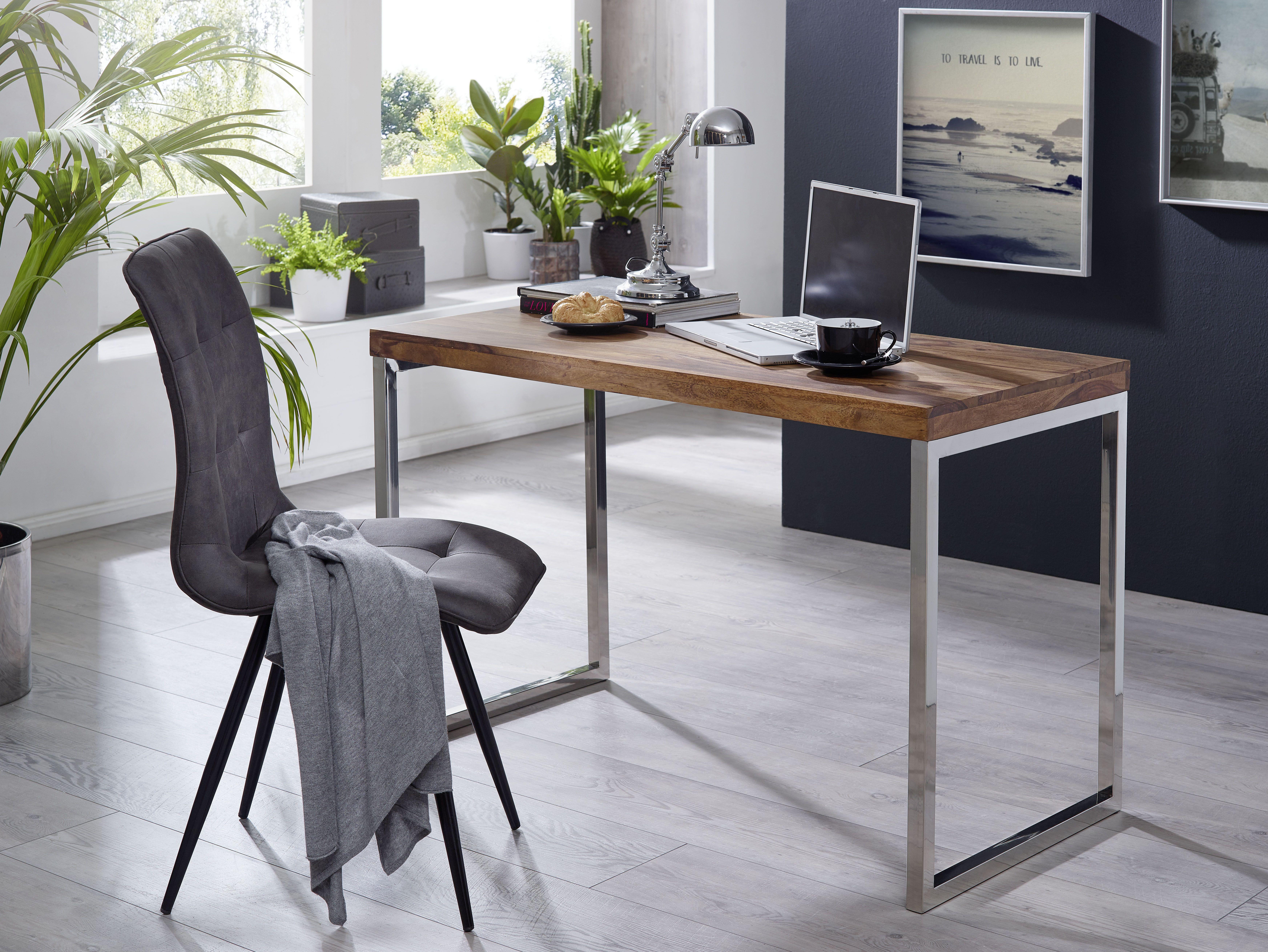 Wohnling Konsolentisch Guna WL1.787 Aus Sheesham Massivholz Und Metall  Silber #Flur #Arbeitszimmer