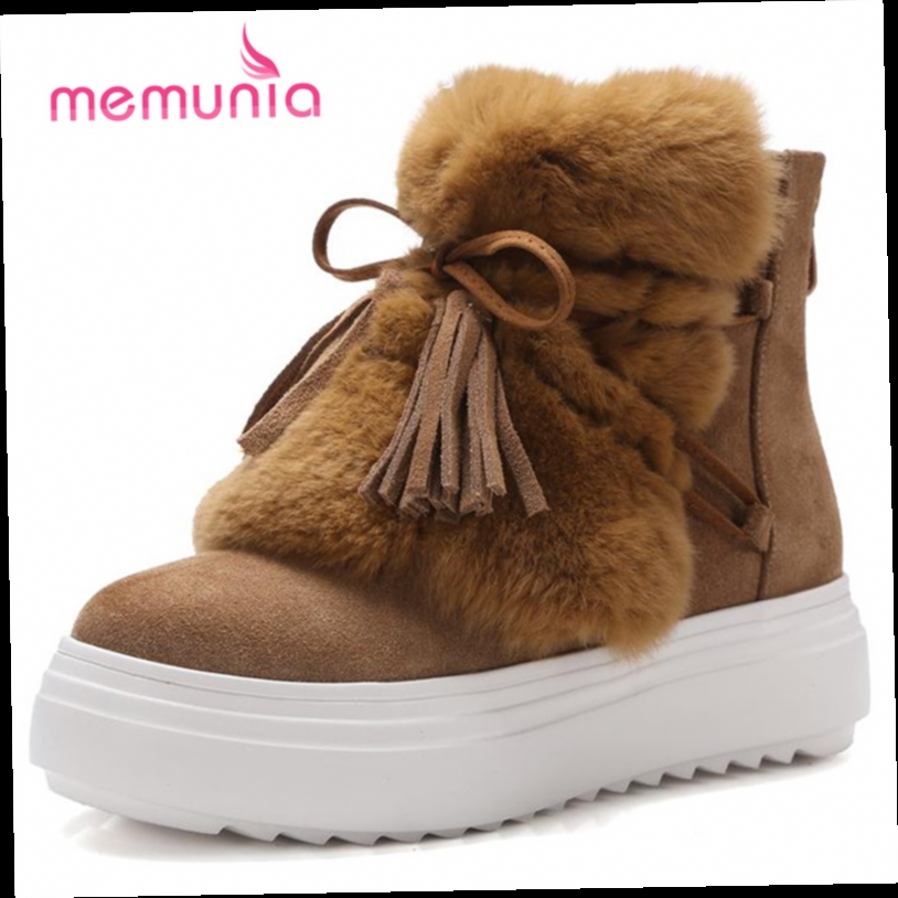 54.60$  Buy now - http://aliwha.worldwells.pw/go.php?t=32764394440 - MEMUNIA  2017 New arrive shoes women ankle boots zip tassel  cowhide leather boots winter warm fashion snow boots  54.60$
