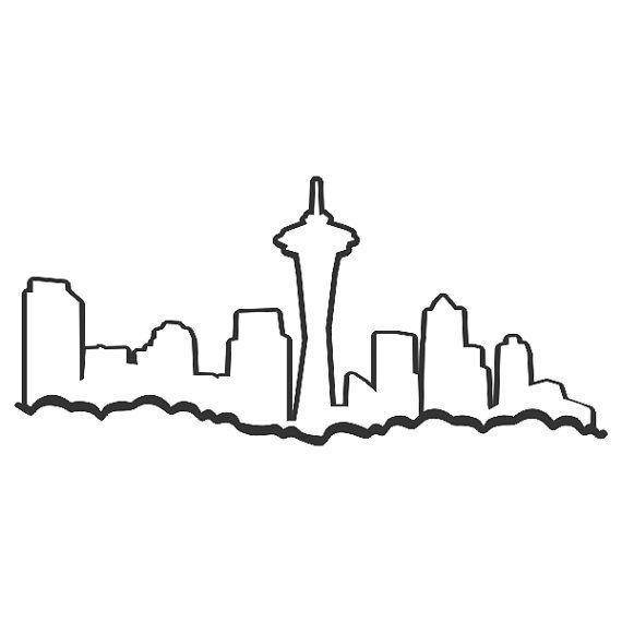 Seattle Skyline Washington Cuttable Design Svg Dxf By Cuttablesvg