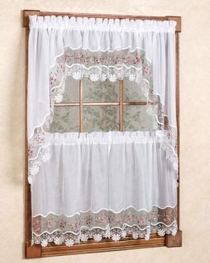 Vintage Macrame Kitchen Tiers Valance And Swag Valance Window