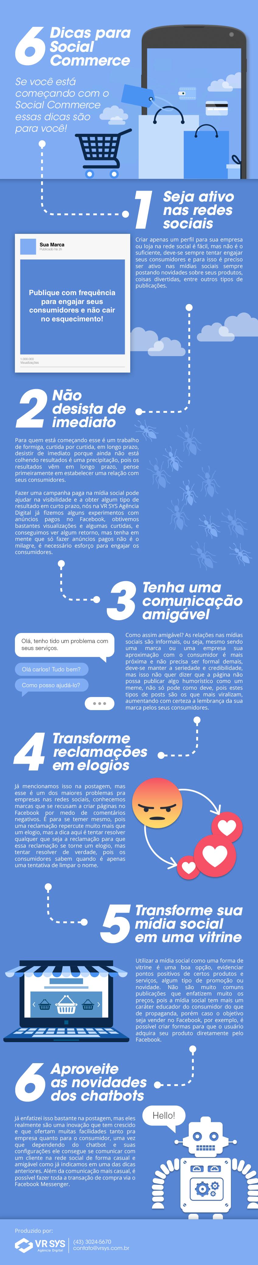 Infográfico - 6 dicas para Social Commerce e vende...