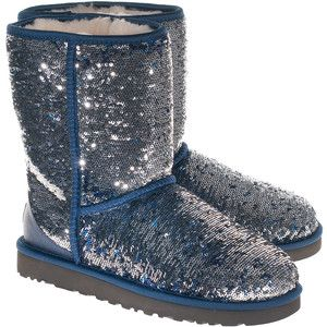 UGG Classic Short Sparkles Silver Blue Sequined shearling bo .