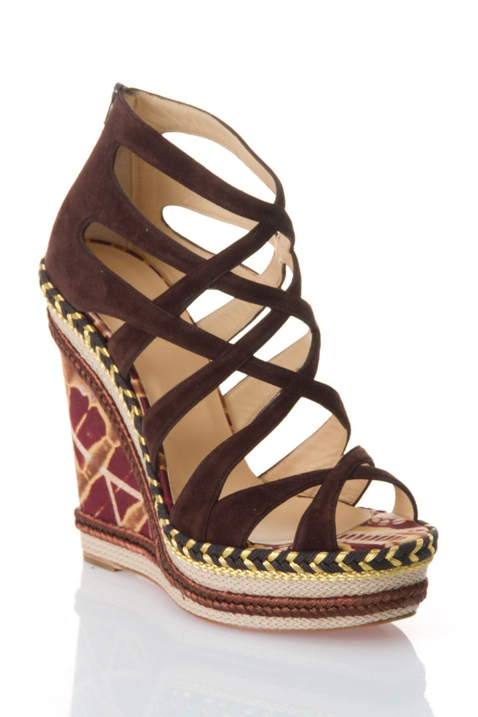 Louboutin Tosca 140 Suede Bazin Wedge Sandals in Chocolate