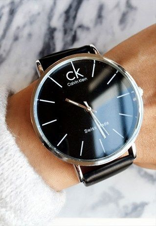 e59b6290b3d Calvin Klein Black   Silver Faux Leather Watch 90s Style