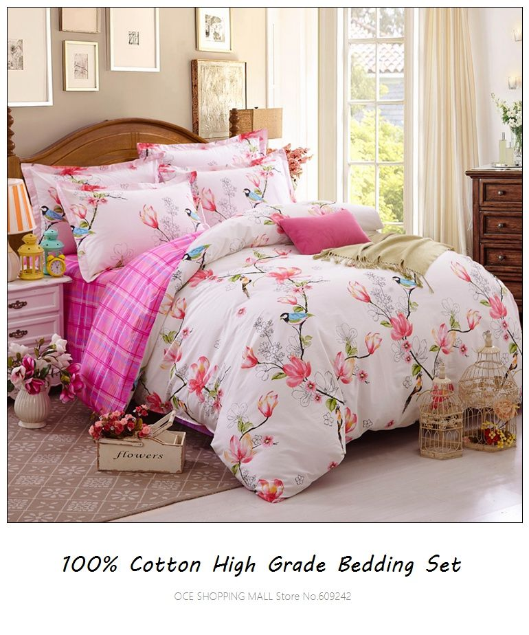 100 cotton bird bedding sets queen size countryside pinkblue duvet cover set - Bed Set Queen