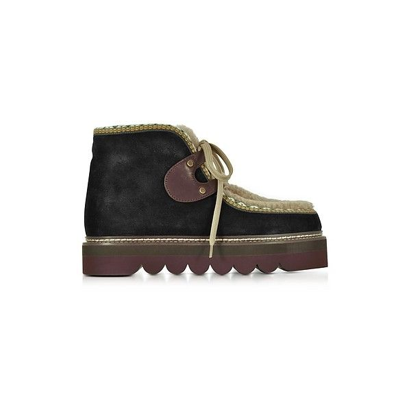 3d3767479afb See by Chloe Shoes Black Suede and Shearling Booties (3,220 CNY) ❤ liked on  Polyvore featuring shoes, boots, ankle booties, black, black wedge boots,  laced ...