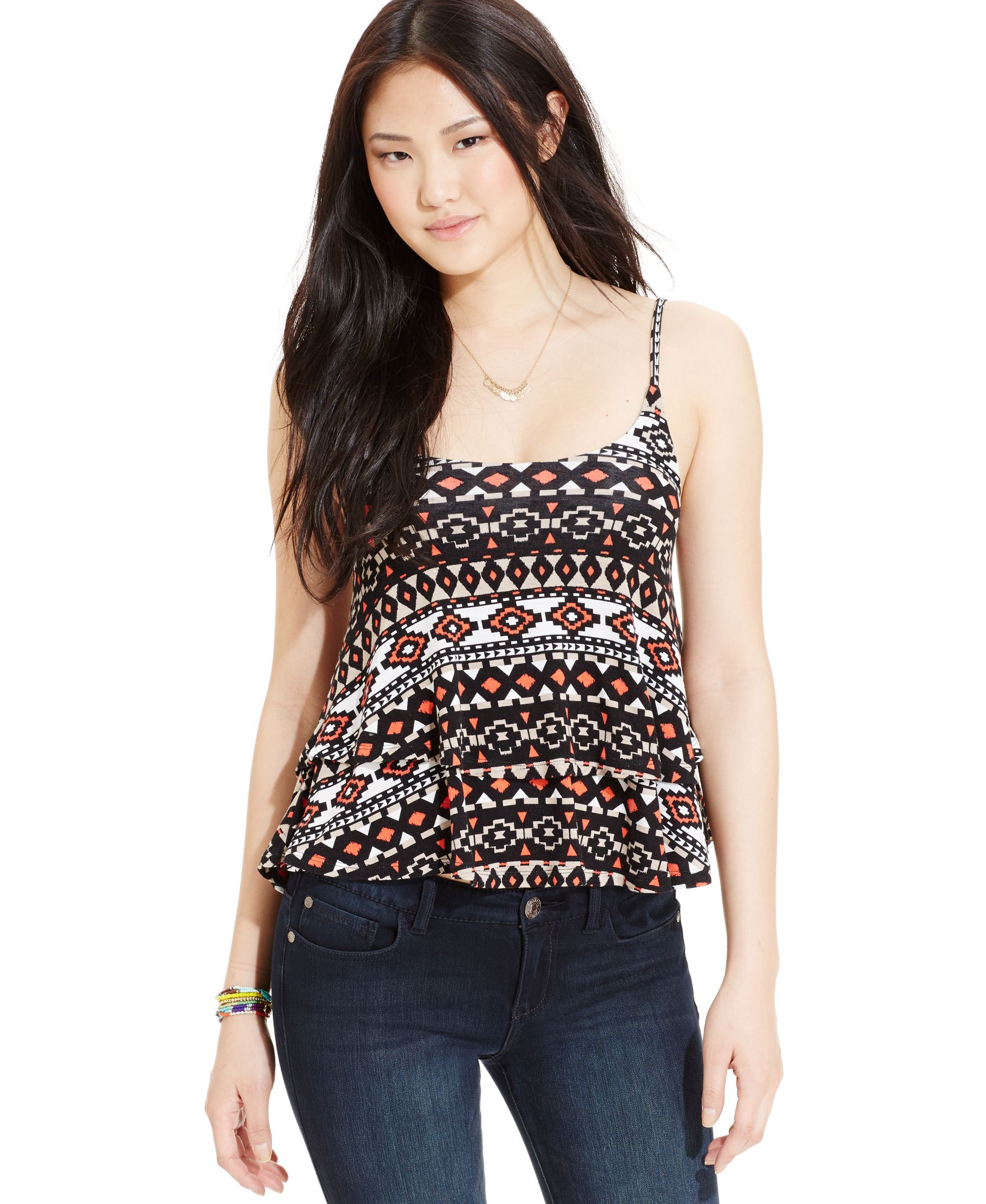 Planet Gold Juniors' Printed Tiered Tank Top
