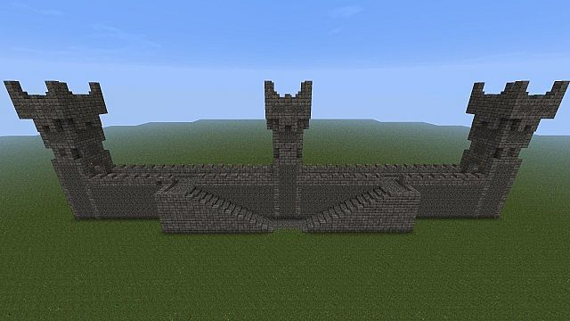 Castle Wall W/ Towers And Battlements Minecraft Project
