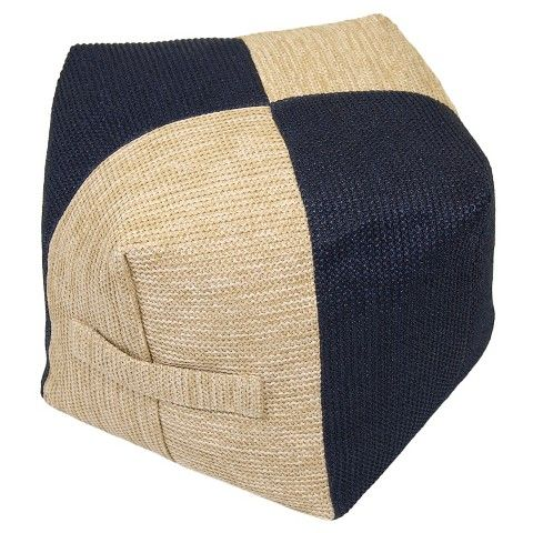 Outdoor Woven Pouf Navy Natural Threshold Target Target