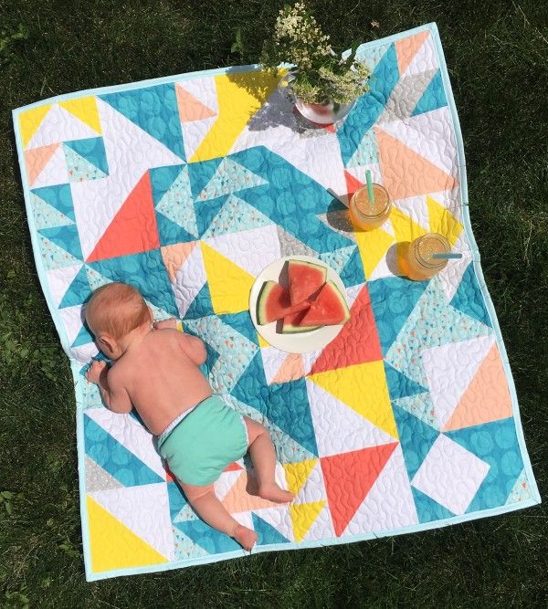 Triangles Geometric Modern Baby Quilt in Multicolor