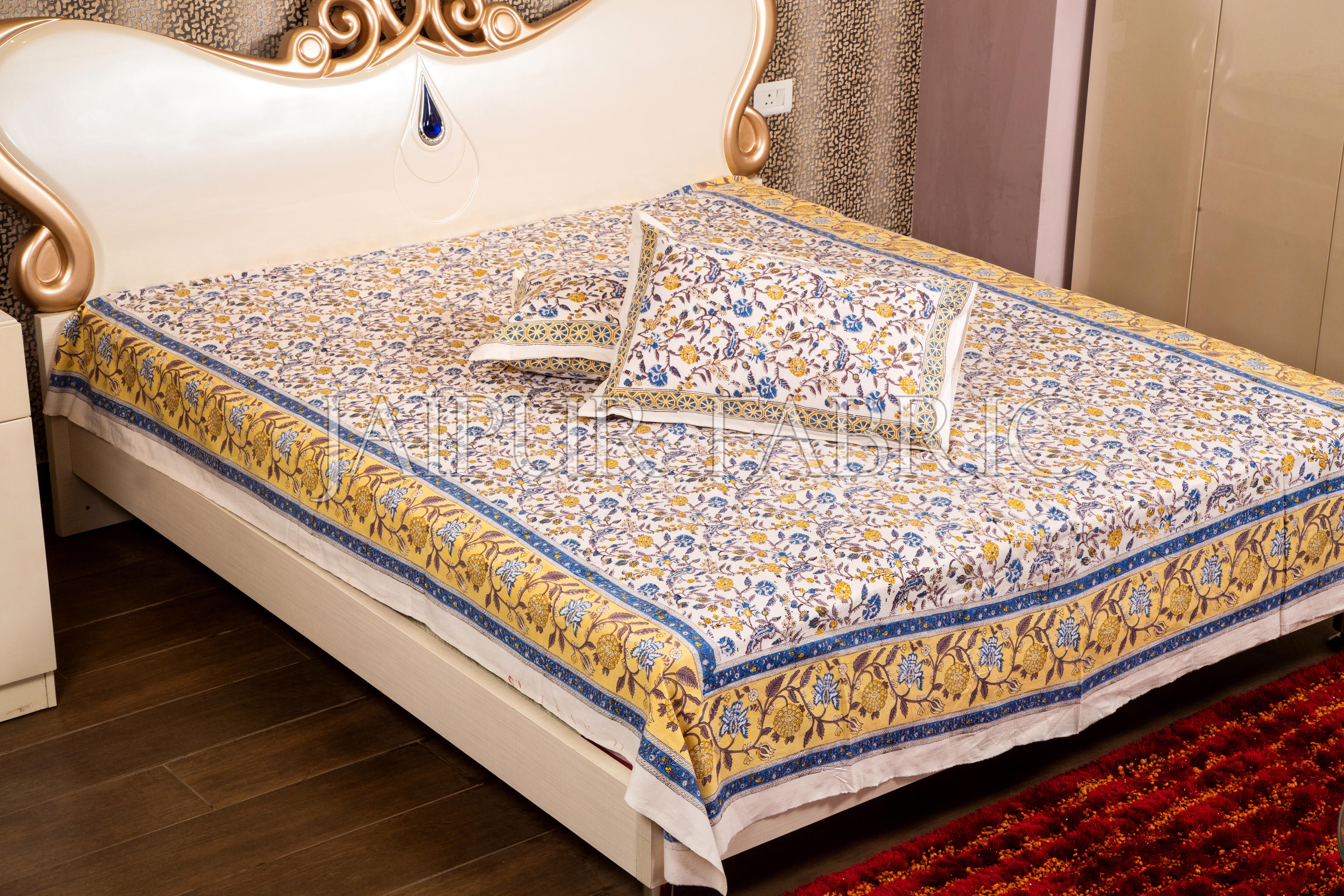 65b346f0a28 Blue Border with White Base Floral Hand Block Print Bed Sheet with Two Pillows  Cover