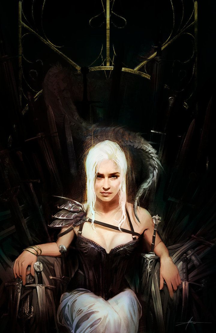 Daenerys targaryen on the iron throne badass digital for Iron throne painting