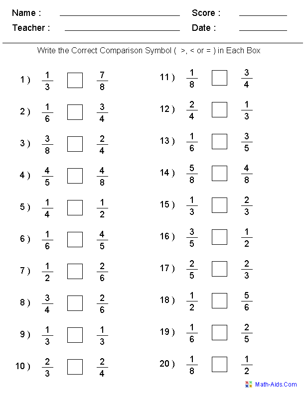 Fractions Worksheets Printable Fractions Worksheets For Teachers Fractions Worksheets Math Fractions Worksheets Comparing Fractions