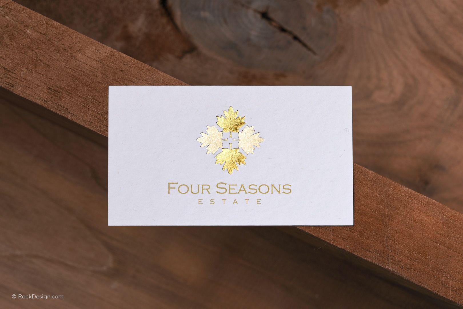 Classic elegant premium white business card with gold foil - Four ...